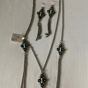 Double Necklace & Earring set
